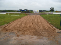 New hurdle course top crossing with rubber crumb in backgrd July 2014