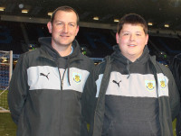Apprentice Chris Pickles with Burnley FC Head Groundsman Paul Bradshaw