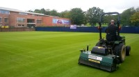 Figure 2- Post renovation aeration being carried out on our practice courts.