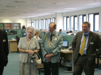 Mayor Mayoress and Dave Withers watch new technology.jpg