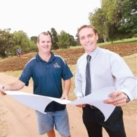 Mildura Golf Resort general manager Marcus Guthrie, pictured right with Ben Chambers of Golf Shapes, golf course contractors, said there had been strong early interest in the residential development.