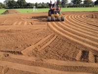 7. Laser grading the square, to achieve the final finished levels, incorporating the imported loam in at this stage