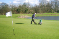 F. Applying a low N, high Iron mix to combat moss Cotgrave Place