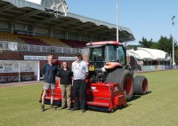 Paul and Amy Davies of Shape Wright Services with Gary Mumby and the 3m BLEC Multiseeder at Llanelli Stadium   Copy