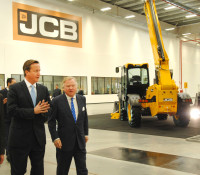 Prime Minister David Cameron and JCB Chairman Sir Anthony Bamford at the opening of JCB Brazil\'s new factory