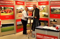 Dick Franklin, md of Speedcut, and David Whybrew, course manager at Foxhills Golf Club and Resort, Surrey, at BTME 2013 DSC 0130   Copy