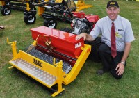 BLEC's Gary Mumby with the new Multiseeder for two wheel drive tractors DSC 0046