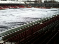 Brentford FC pitch with the covers on December 1