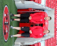 Fleetwood Town Head Groundsman, Dale Frith, and Apprentice Ashley Roche (Outside Players Tunnel)