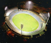 An artist's impresssion of the AAMI Stadium lighting upgrade