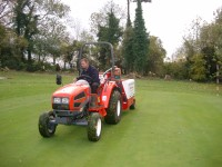 Barry Pace of Speedcut Contractors in action with the Gwazae on one of the greens.JPG