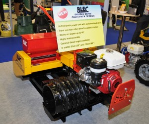 BLEC Global\'s new tractor drive unit fitted to the Cultipack Seeder at BTME 2014. www.blec.co.uk