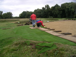Speedcut staff relaying greens turf at Piltdown Golf Club, East Sussex