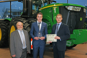 John Deere ag & turf apprentice of the year Alistair Baillie (centre) with Guy Schornig-Moore of Babcock and Richard Halsall of John Deere (left and right).