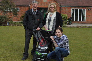 Lee McKenna with John Hughes of Johnsons Sport Seed and Tracy Walker landscape