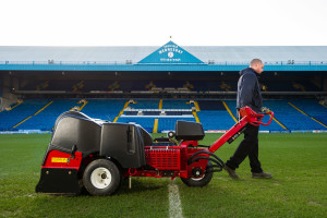 Andy Thompson out on the pitch with his ProCore aerator