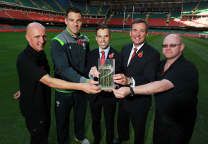 Head Groundsman Lee Evans, Wales scrum half Mike Phillips, Deputy Minister for Sport Ken Skates, WRU Chief Executive Roger Lewis and Groundsman Craig Campbell launch new Desso pitch at Millennium Stadium