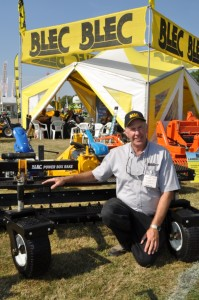 BLEC Global\'s Gary Mumby with the new Power Box Rake at Saltex 2013. www.blec.co.uk DSC 0748