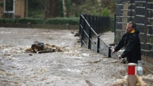 Residents battled against floodwater after the River Calder bursts its banks in Mytholmroyd, West Yorkshire