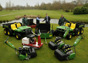 Branston Golf & Country Club's director of golf Richard Odell, area sales manager James Robson of John Deere dealer Henton & Chattell, the club's managing director Ben Laing and course manager Gavin Robson, with the new course maintenance equipment.