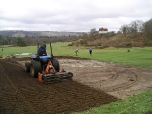 Speedcut completing the surrounds of a new greenside bunker at Silvermere Golf Club 6th hole in Surrey