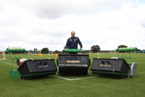 Norwich City Head Groundsman with Dennis G860 and Dennis Premier football pitch mowers