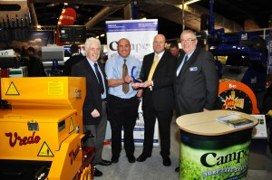 Campey dealers Double A with their UK dealer award. Left to right David Briggs (Campey) Adrian Gardner and Sandy Armit of Double A and Richard Campey at BTME DSC 0165