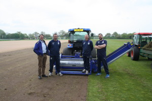 Left to right Simon Gumbrill, Graeme Farmer and his grounds staff