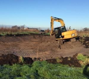 Three Owls Pond under construction in Dec 2014