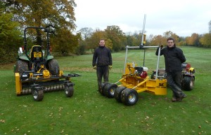 Nigel Colley (left) and Dave Hollins at Rothley Park Golf Club with their new BLEC Power Box Rake and Laser Grader