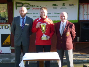 Gary Potter with one of the winners, and Peter Higham