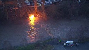 A gas main was seen burning on the edge of the River Irwell in Radcliffe, Greater Manchester