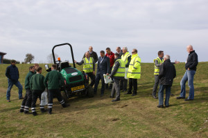 Ransomes Product Trainer Nigel Church demonstrates the benefits of the TST system to some of the delegates