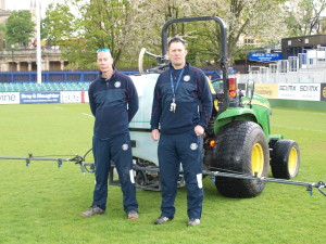 Martin Hobbs and Darren Ball with the new 300 litre Martin Lishman Compact Sprayer