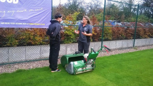 Figure 2 Our apprentice Tom, getting a lesson from Sue Lawrence with our cylinder mowers.