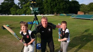 Pedmore CC's Dan Such gets ready to put the new Paceman bowling machine through its paces with members of the youth side