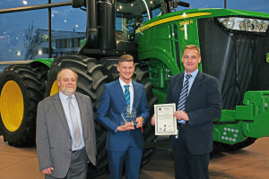 John Deere parts apprentice of the year Mike King (centre) with Guy Schornig-Moore of Babcock and Richard Halsall of John Deere (left and right).
