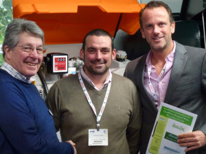Shaking hands on the deal to supply the first ClearWater system in Germany. David Mears Highspeed Group MD (left) with Chris Knowles Hanau GC course manger (centre) and Tim Gagelmann Highspeed\'s German agent (right)