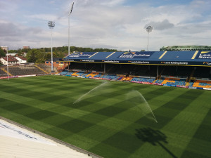 Leeds Rhinos aerial with sprinklers