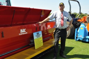 BLEC md Gary Mumby with the Turfmaker Seeder to be seen at SALTEX